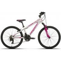 """Bicicleta de montaña Megamo - Open Junior Girl 24"""" - Blanca y rosa"""