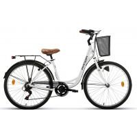 """Bicicleta de paseo Megamo - Ronda 2020 - 26"""" Pulgadas - Blanco"""